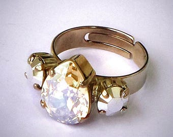 Swarovski elements moonlight pear fancy stone ring adjustable size,rhodium plating lovely sparkle with crystal CAL and moonlight stones
