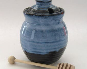 Honey Pot with Dipper - Pacifica Blue and Black Variation