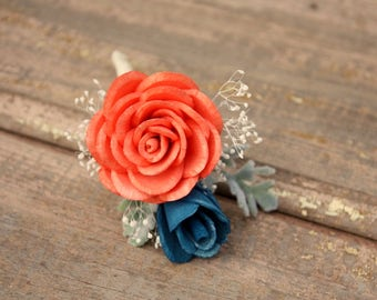 Navy blue boutonniere, Sola flower boutonniere, grooms boutonniere, sola wood flower, grooms flower, boutineer, navy and coral wedding