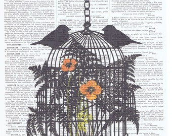Birdcage.Bird,altered antique.book page.gift.birthday,home deco.special.repurposed.collage art.mixed media.avian.fly.pretty picture.black
