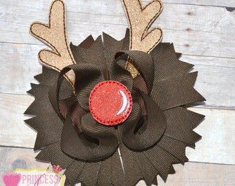 Red Nose Reindeer Hair Bow ~ Christmas Bow ~ Holiday Hair Bow
