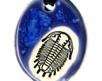 Trilobite Ceramic Necklace in Purple and Blue