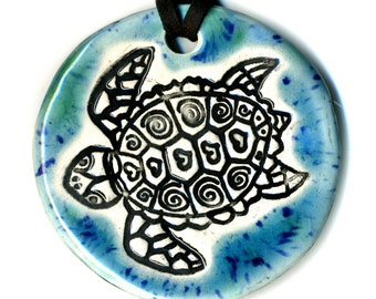 Sea Turtle Ceramic Necklace in Blues