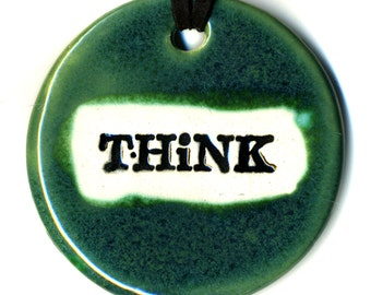 Think Ceramic Necklace in Green
