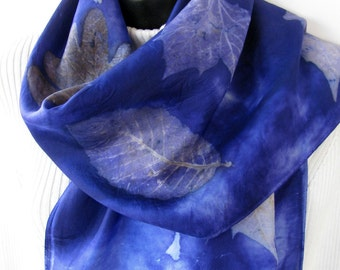 Periwinkle - Hand dyed silk scarf for women with gorgeous leaf prints unique scarf gift for her womens fashion scarf eco print nature leaves