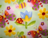 Fleece, fabric, sewing, no sew fabric, butterflies, lady bugs, bumble bees, flowers, floral, light green background