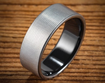 Men's Wedding Band Comfort Fit Interior Black Zirconium Bi-Color Black and Silver Brushed Ring