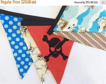 HALF OFF Pirate Themed Bunting.  Boy Fabric Party Banner.  As Shown, Ready To Ship.  Photo Prop, Nursery Decoration, Birthdays, Boy's Room,