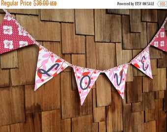 HALF OFF Love Bunting Wedding Flag Banner Decoration. Colorful Fabric Photo Prop, ready to ship as shown.