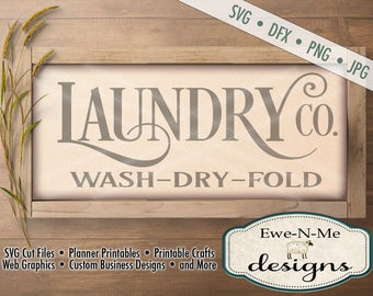 Laundry Co SVG - laundry co sign svg - Laundry room cut file - laundry room stencil - Commercial Use svg cut file -  svg, dxf, png, jpg