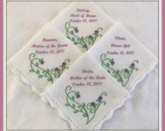 SET OF 4 Embroidered Wedding HANKIES Rose Swirl