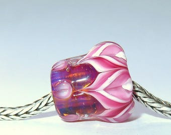 Luccicare Lampwork Bead - Pink&Fairy Lotus - FOCAL -  Lined with Sterling Silver