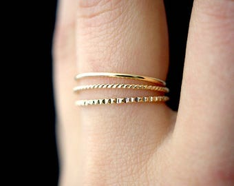 SOLID Mixed Texture Gold stacking ring set, gold stack ring, ring set, gold set, delicate gold ring, lined ring, twist ring, set of 3 rings