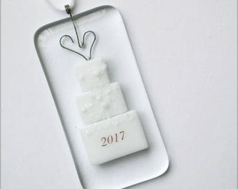 Wedding Ornament, Glass Decoration, 2017, Glass Ornament, Christmas ornament, Christmas Decoration, Handmade ornament, Glass, 055