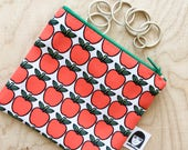 Little Scandi red apple purse  - Jane Foster fabric  - original illustration  -  handmade