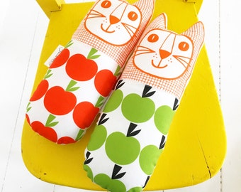 New Scandi apple fabric toy cat made and designed by Jane Foster  - British designer
