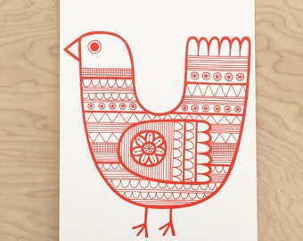 Red Scandi  screen print by Jane Foster  - hand printed signed LIMITED EDITION
