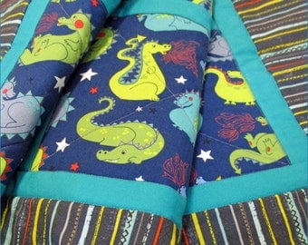 Baby Dragon Quilt Medieval Fantasy in Navy Blue and Turquoise cotton and cotton-flannel Baby Crib or Toddler Bed