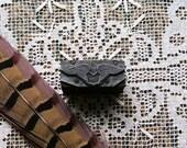 Vintage Metal and Wood Printers Block Ornate Angel Wings Etched Stamp Letterpress Block