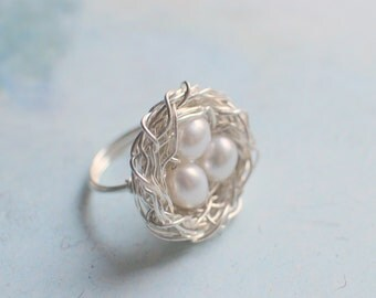 Sterling Silver and Freshwater Pearl Bird's Nest Ring, Whimsical Ring, Bright Sterling Silver, Three Pearls