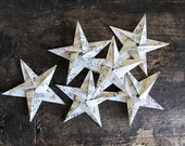 6 Origami Stars Made From Vintage Sheet Music