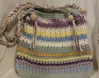 Handmade Crocheted Boho Beach Bag Tote Purse