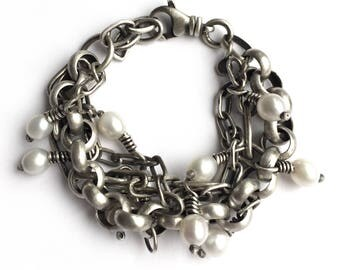 Heavy Sterling Silver Triple Chain Pearl Bracelet Vintage Rolo Chain Oblong Cable Chain Chain Swivel Clasp Adjustable