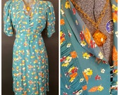 "1940s Mode-o-Day Teal Floral Rayon Dress - Plus Size 42"" Waist - with BAKELITE NECKLACE"