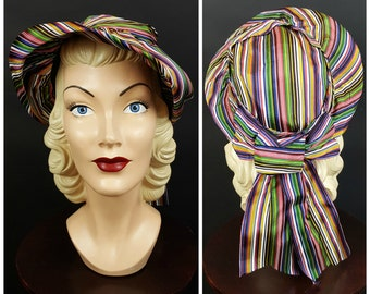 1940s New York Creation Hat Striped Grosgrain Ribbon Multi Color
