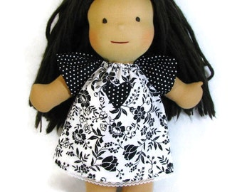 Black and white Waldorf doll dress, 15 in floral polka dot dress