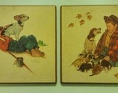 Norman Rockwell Vintage Prints, Boy and His Dog: Adentures Between Adventures and Pride of Parenthood/New Puppies Wall plaques
