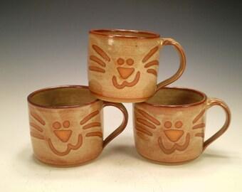 Cat Pottery, Cream Cat Mug, Handmade Mug, Stoneware Mug, Coffee Mug, Cat Lover Gift, Cat Sitter Gift