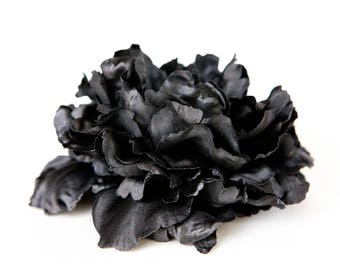 Large Peony in Black - 6 inches -- Silk Artificial Flower - ITEM 0918