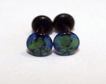 12g Dark Blue and Green Pattern Glass Plugs Body Jewelry 12 Gauge 2mm Piercing