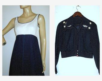 60s Maxi Dress 1960s Navy/White Swiss Dot Maxi Dress 2pc Outfit
