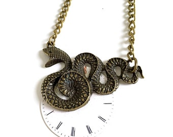 CLOSING DOWN SALE Steampunk Neo Victorian Vintage Watch Bronze Snake Pendant Necklace
