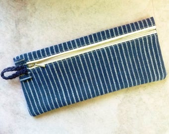 Recycled cotton pencil case vertical Stripes white on blue Fair Trade fabric