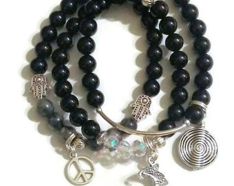 SPECIAL BUY! Black agate Black Labradorite Crystal spiral charm moon charm peace charm beaded bracelet combo