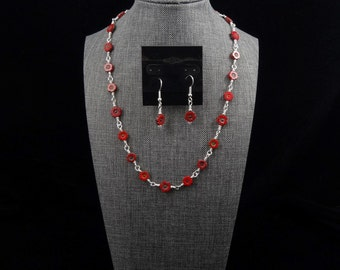 Red Poppy Chain Necklace and Earrings
