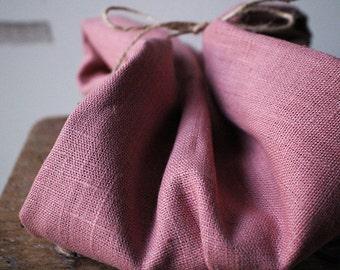 LINEN FABRIC - muted salmon / heavy weight linen fabric / european / flax / etsy australia / supplies by runningthreads