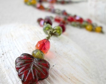 Handmade Necklace - Multicolored Autumn Necklace  - Gift for Her Under 30 - Statement Necklace - Bohemian Necklace - Autumn Series16