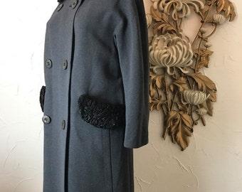 Fall sale 1950s coat wool coat gray coat size large double breasted persian lamb coat Youthcraft coat