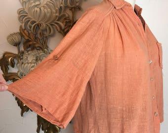 1970s blouse gauze blouse cropped blouse size medium vintage blouse bohemian blouse 34 bust hippie top