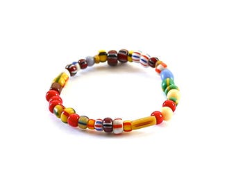 Colorful African Beaded Bracelet/Stretch Bracelet/African Glass Beads/Beaded Bracelet/Layering Bracelet/Beaded Jewelry/