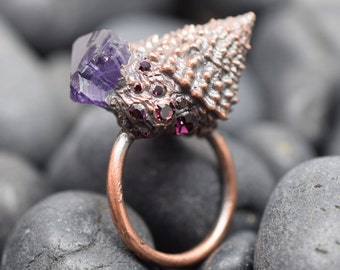 Tectarius coronatus Real Shell Ring Electroplated Copper with Amethyst Point and Purple Swarovski Crystal Chatons SIZE 7