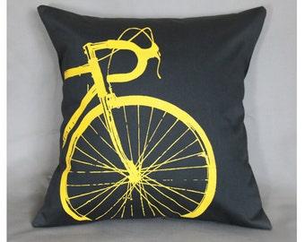 Bike Pillow Cover 16 x 16 Yellow Road Bike on Dark Brown