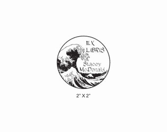 The Great Wave Custom Ex Libris Bookplate Library Rubber Stamp O28