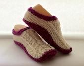 Traditional Irish Handmade Aran Wool Slippers - original design