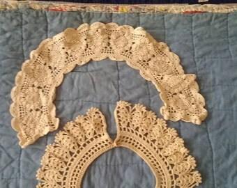 Lot Antique Vintage Lace Collars. Battenburg, Crochet FREE SHIPPING
