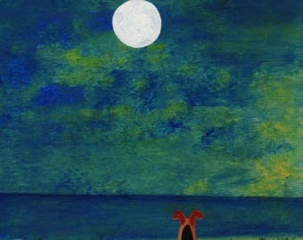 Airedale Welsh Terrier Dog original seascape art painting by Todd Young TWILIGHT